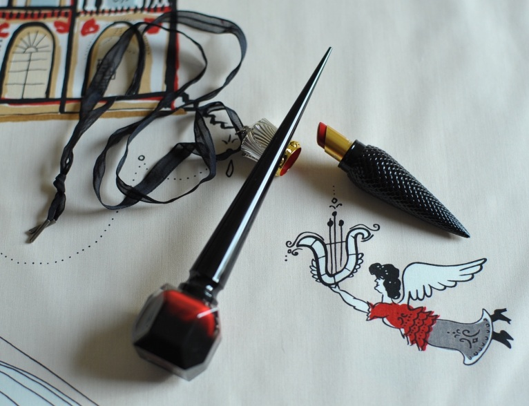 'Opera' by Saul Steinberg for F Schumacher with Christian Louboutin iconic rouge lip and nail colour