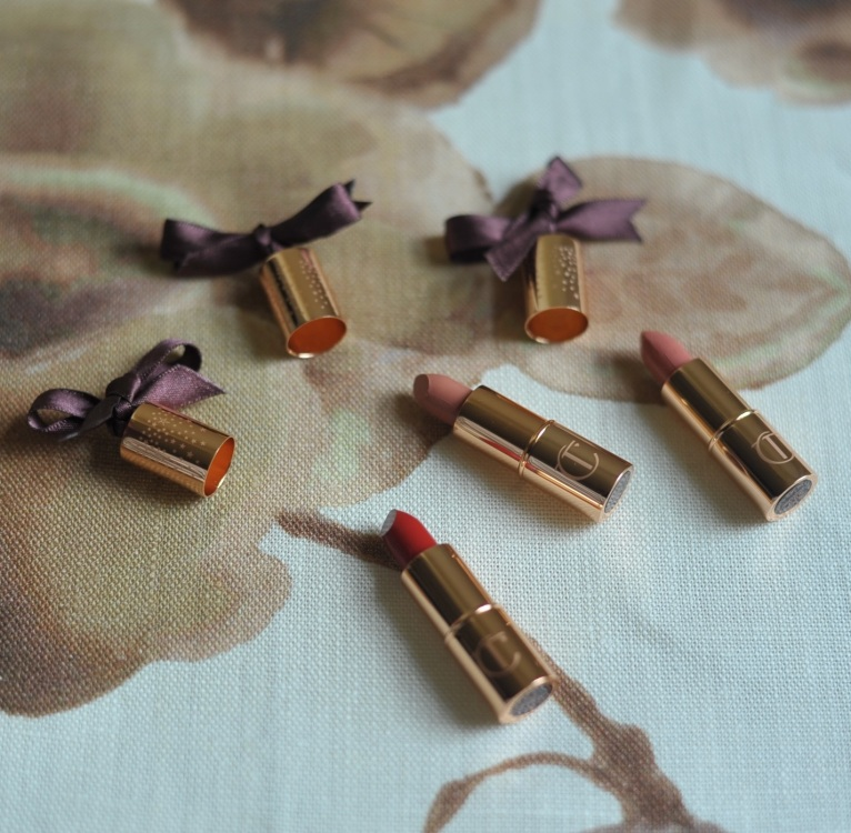 'Cap D'Antibes' by Rubelli. Mini lipstick charms by Charlotte Tilbury.