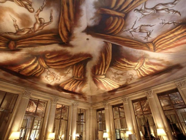 Le Meurice painted ceiling canvas by Ara Starck